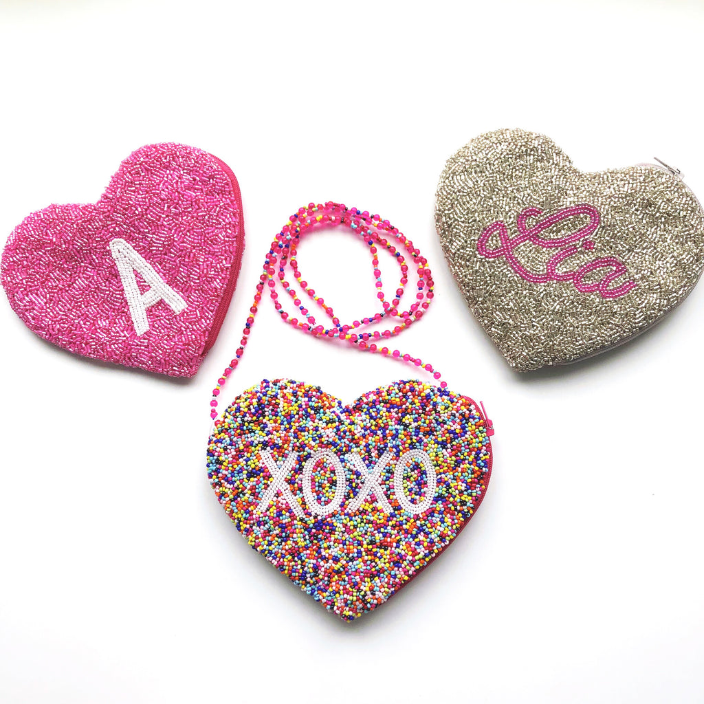 Hand Beaded Heart Purse