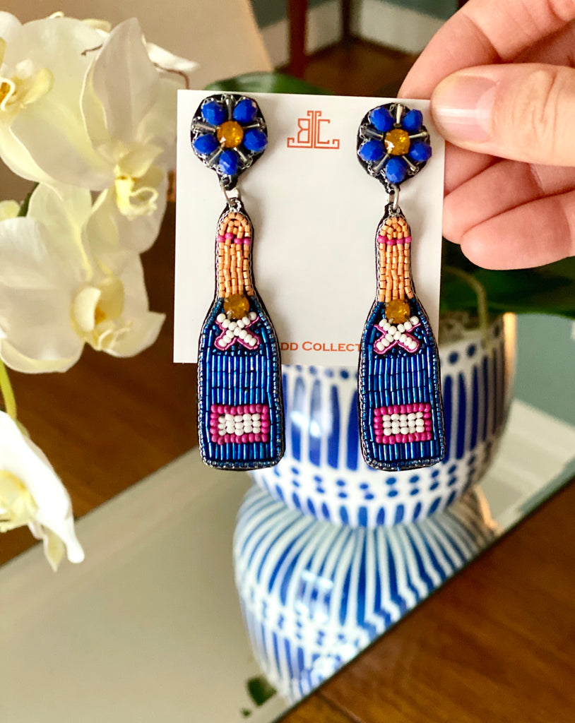 Royal Blue and Orange Champagne Earrings