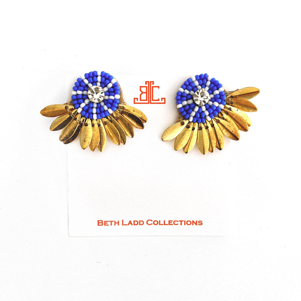 Button Studs in Cobalt/White