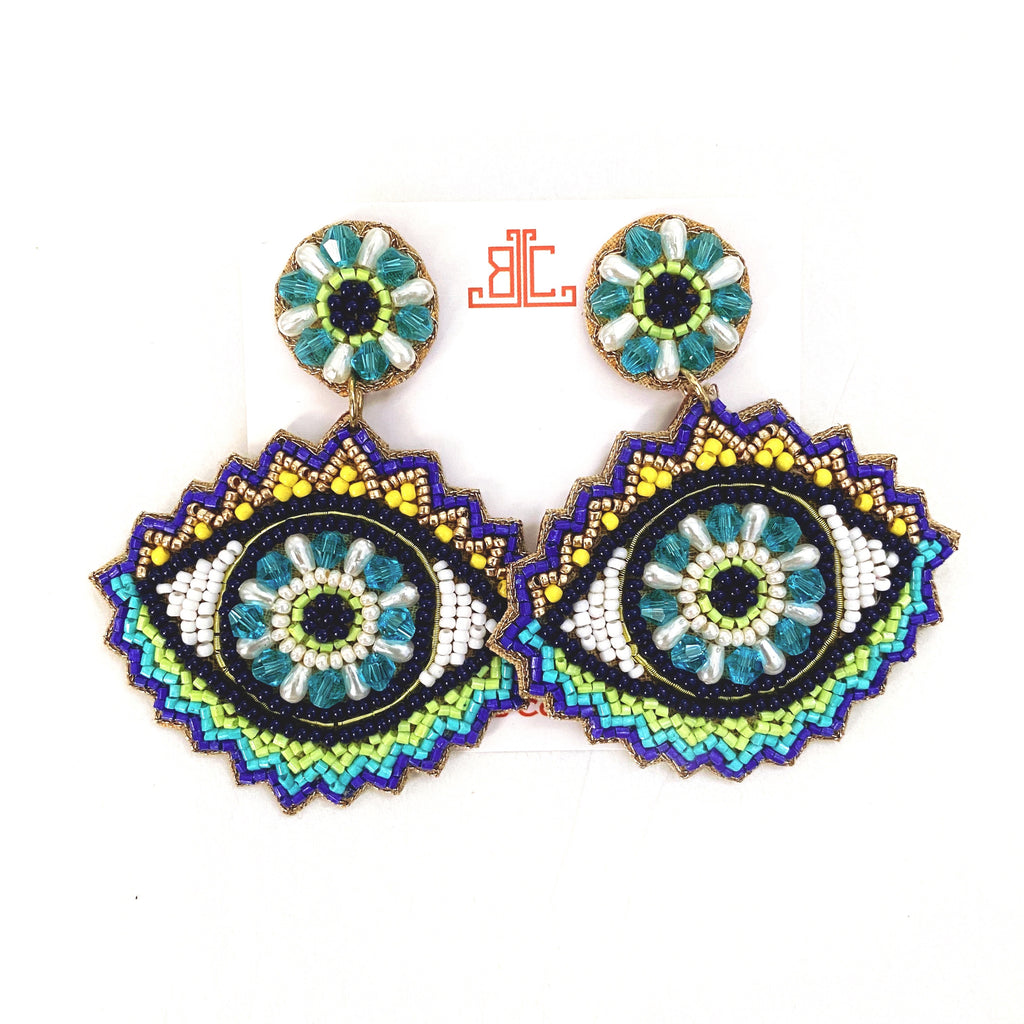 Evil Eye Earrings in Green/Blue