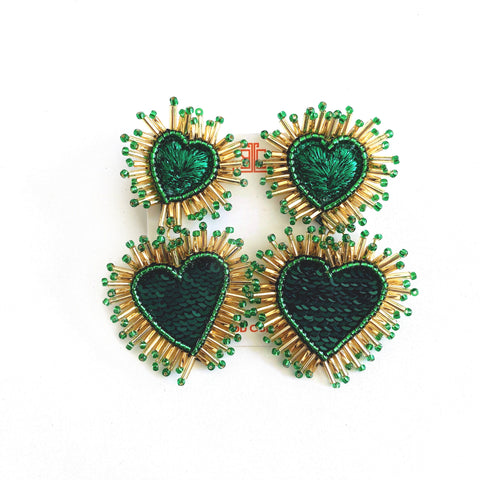 St. Patrick's Day Oversized Heart Earrings