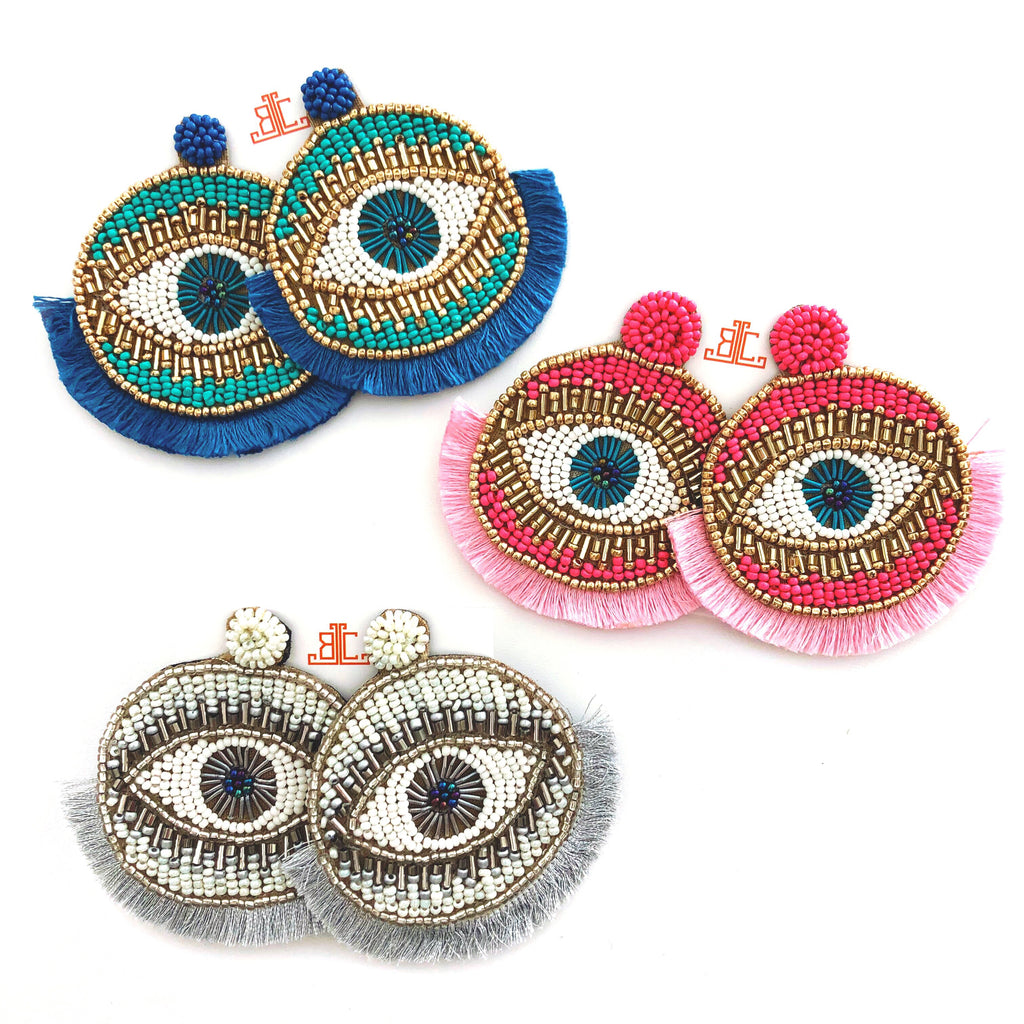 Sari Evil Eye Fringe Earrings - CLICK FOR ALL COLORS