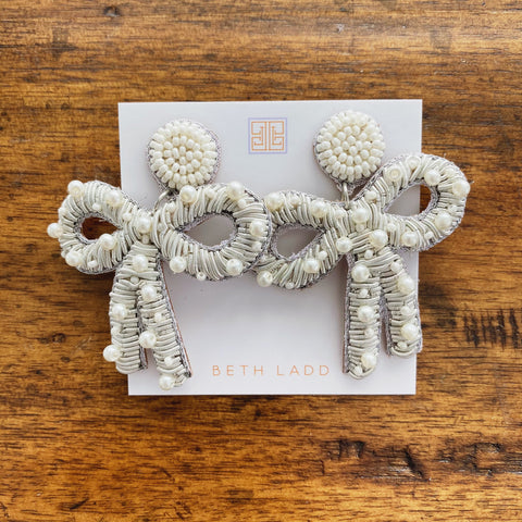 Ivory Pearl Bow Earrings