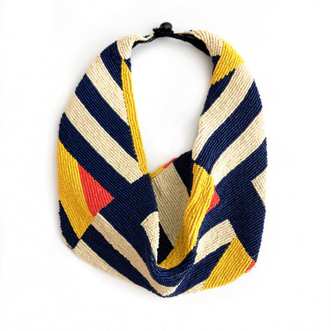 Mercer Beaded Scarf Necklace in Geometric Navy, Ivory, Yellow, Orange
