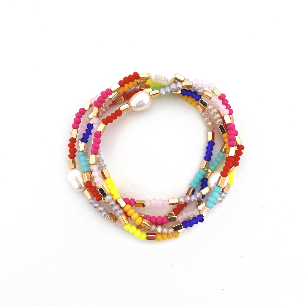 Rainbow Pearl Bracelets (Set of 5) - Bright Colorway