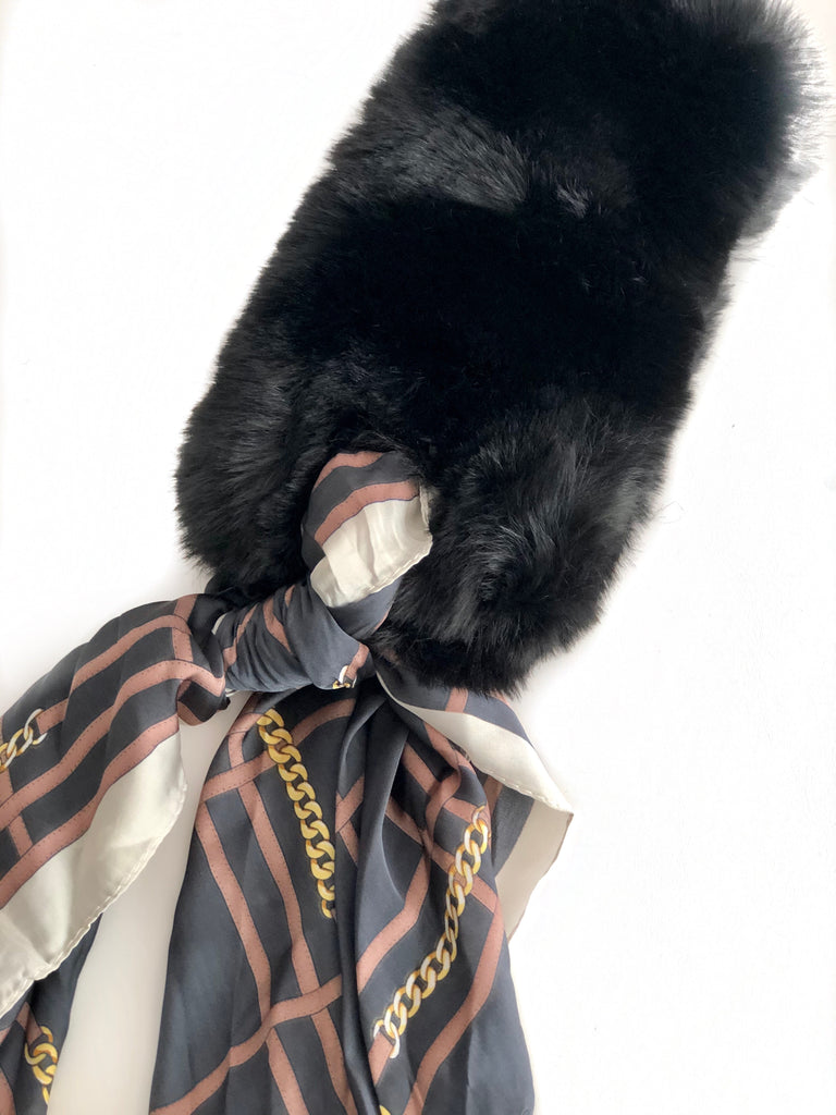 Faux Fur + Silk Scarf - BLACK