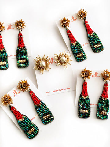 Holiday Champagne Bottle Earrings - Red/Green/Gold