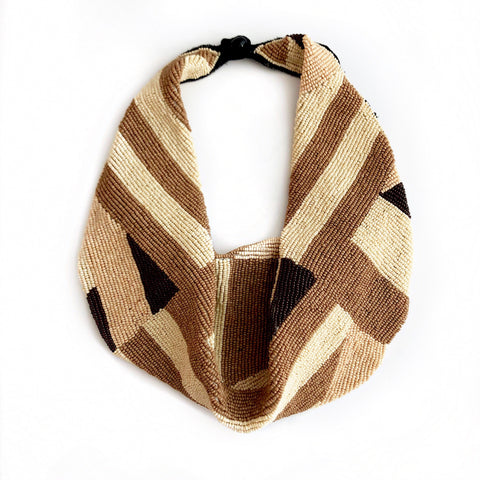 Mercer Beaded Scarf Necklace in Geometric Taupe