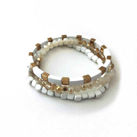 Clair Stacking Bracelets in White