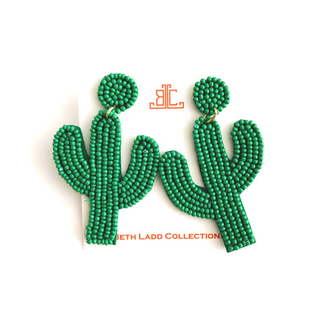 Beaded Cactus Earrings in Green