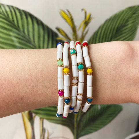 White Rainbow Bracelet Set