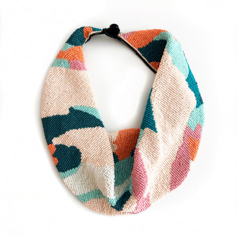 Mercer Beaded Scarf Necklace in Pink/Teal Camo