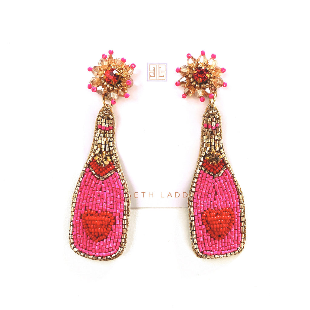 Hot Pink / Red Champagne Earrings