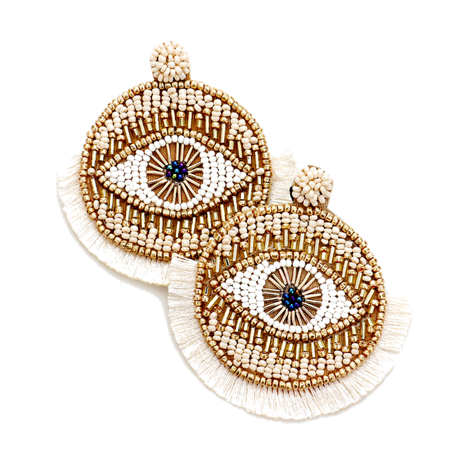 Sari Evil Eye Fringe Earrings in Ivory/Gold