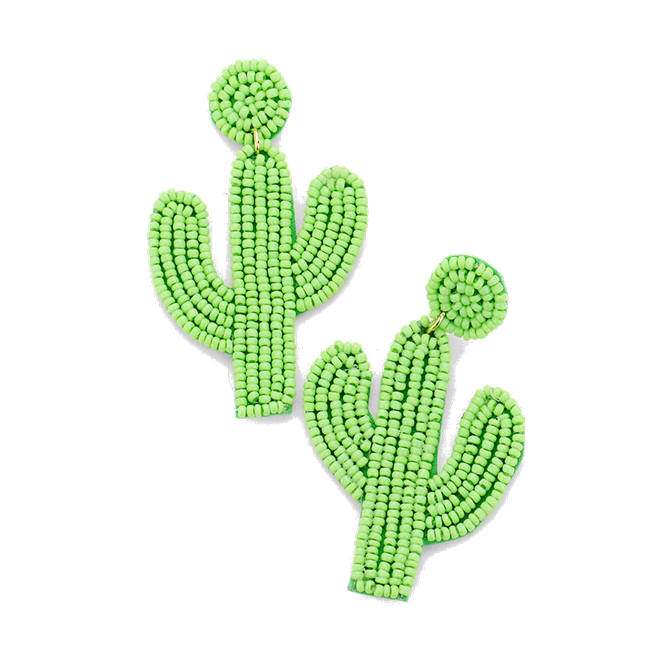 Beaded Cactus Earrings in Light Green
