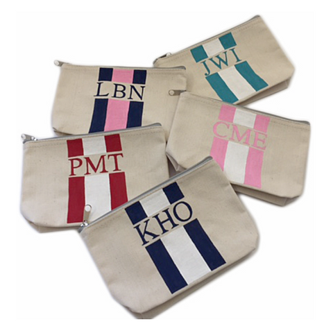 Monogrammed Canvas Pouch