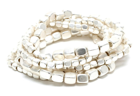 Pebble Stacking Bracelets in Silver