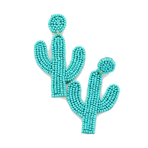 Beaded Cactus Earrings in Turquoise