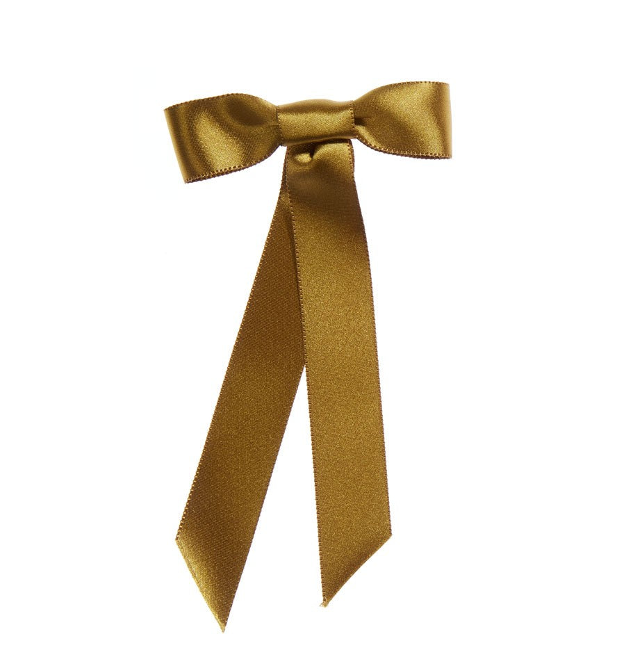 Jennifer Behr Satin Bow Barrette in Olive