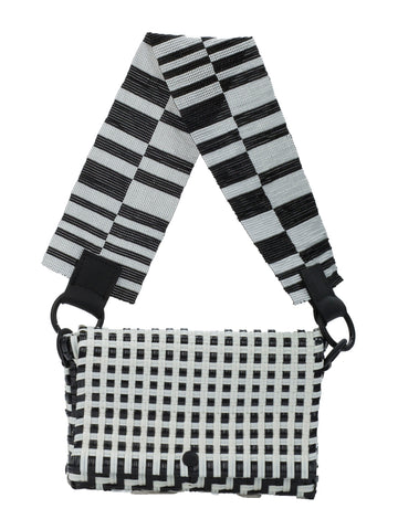 Truss Embellished Baguette Bag in Black and White