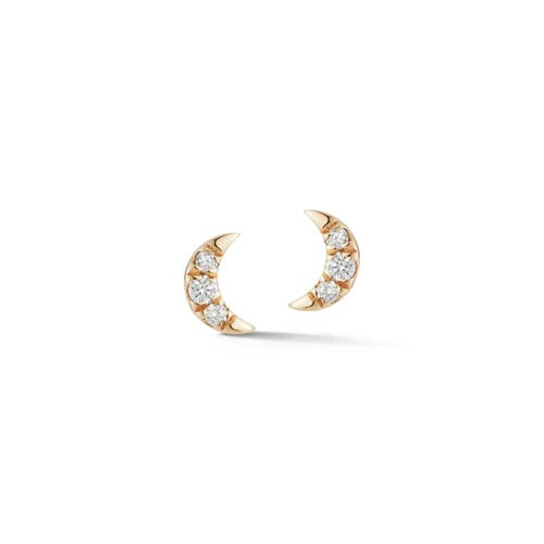 Dana Rebecca Mini Crescent Moon Studs in Yellow Gold