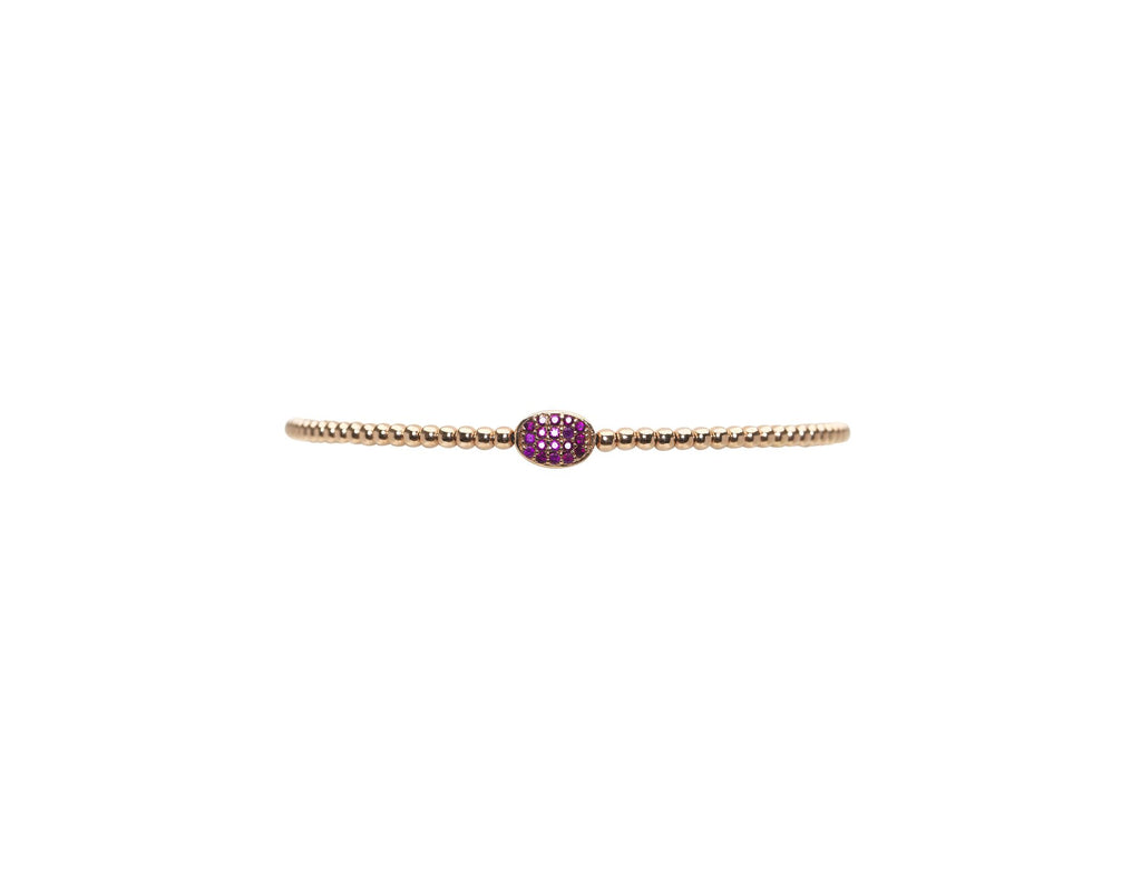 Karen Lazar 2MM Ruby Bean Bracelet in Rose Gold