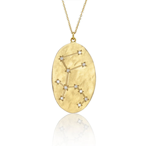 Brooke Gregson Aquarius Astrology Necklace in Yellow Gold