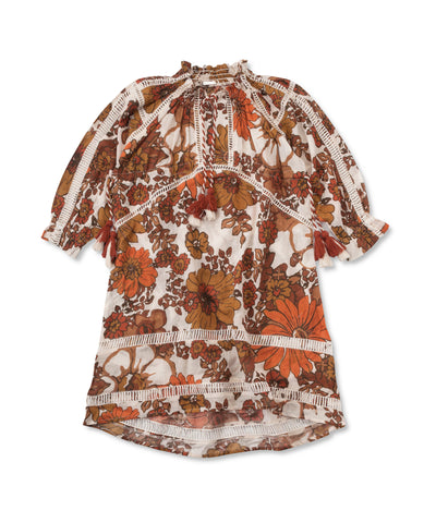 Dodo Bar Or Toto Kids Dress in Orange Floral