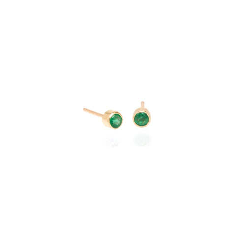 Zoe Chicco Bezel Set Emerald Studs in Yellow Gold