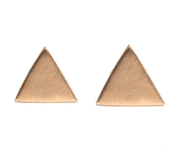 Melissa Joy Manning Triangle Studs in Yellow Gold