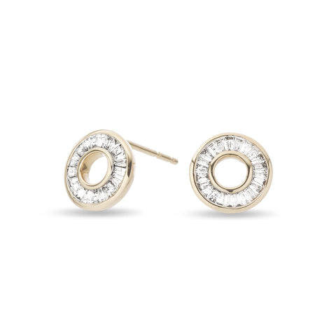 Adina Reyter Baguette Diamond Circle Studs in Yellow Gold