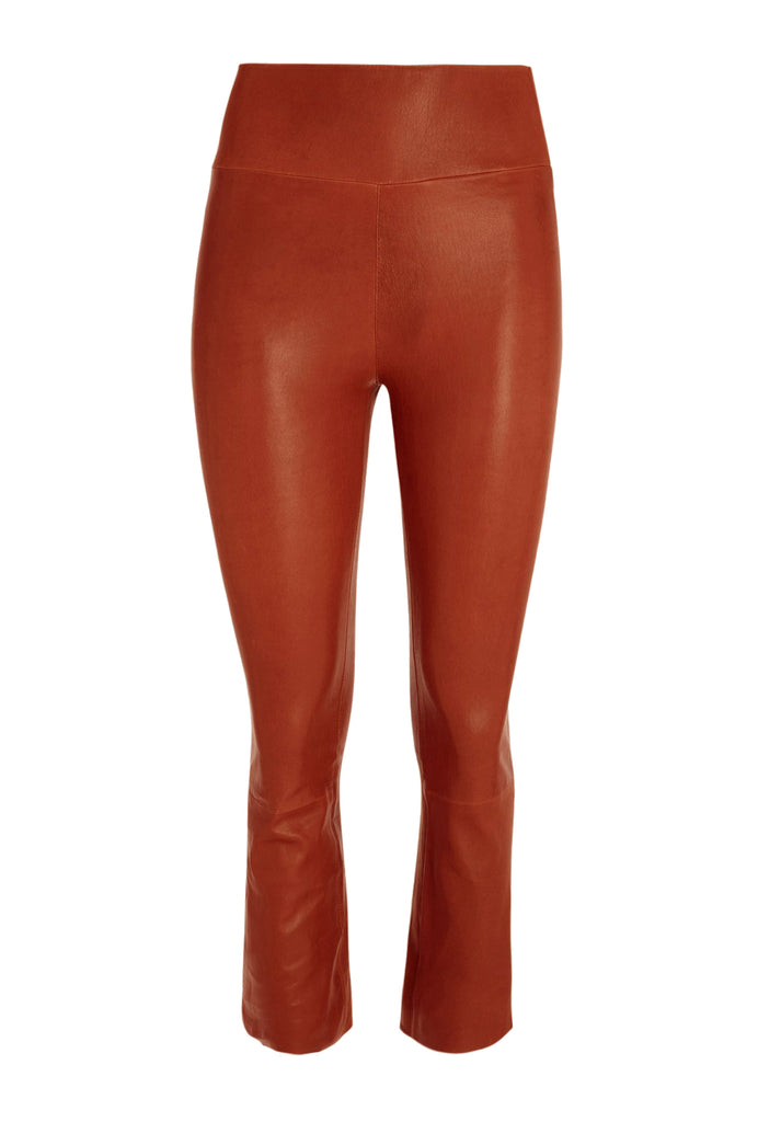 Sprwmn Cropped Flare Leather Leggings in Cognac