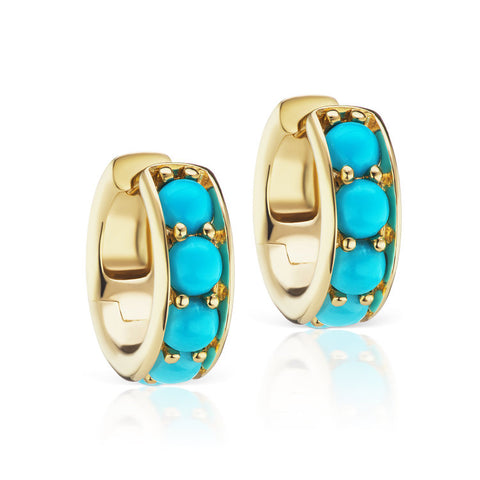 Jane Taylor Thick Turquoise Huggies in Yellow Gold