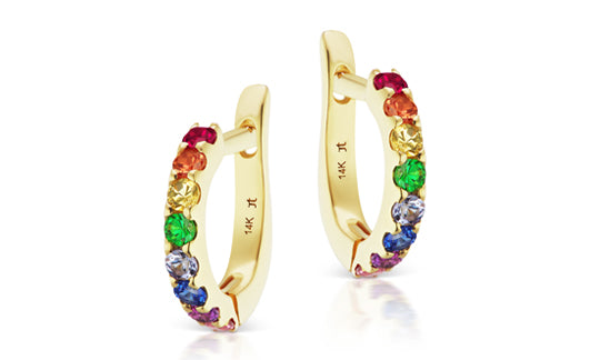 Jane Taylor Rainbow Gem Huggies in Yellow Gold