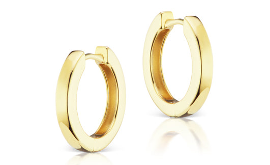 Jane Taylor Plain Huggies in Yellow Gold