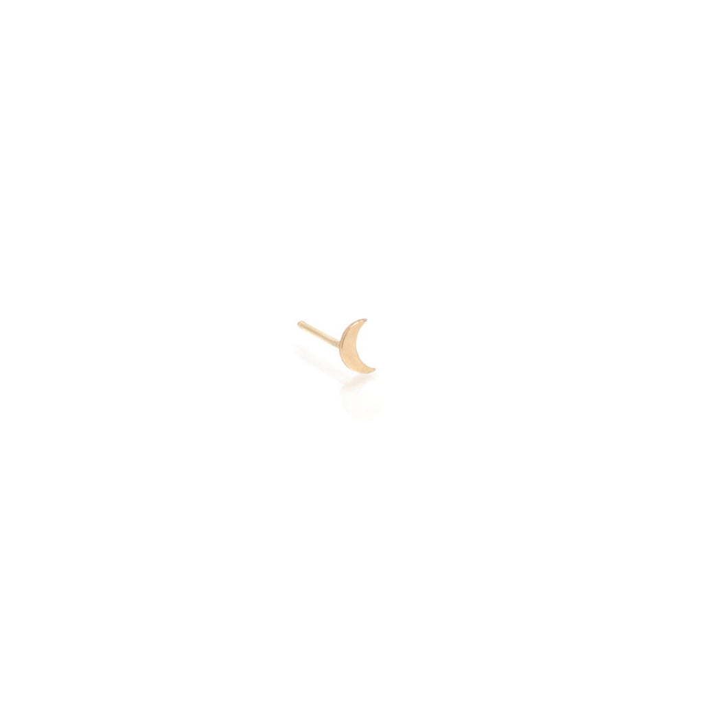 Zoe Chicco Crescent Moon Stud in Yellow Gold