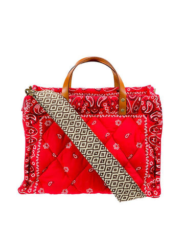 Parker Thatch Small Quilted Bandana Bag in Red