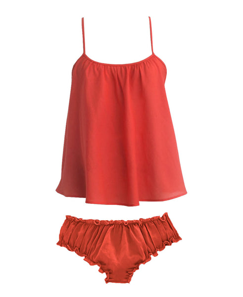 Loup Charmant Cotton Bloomer Sleep Set in Coral