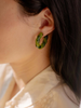 Keane Braided Glass Hoops in Green