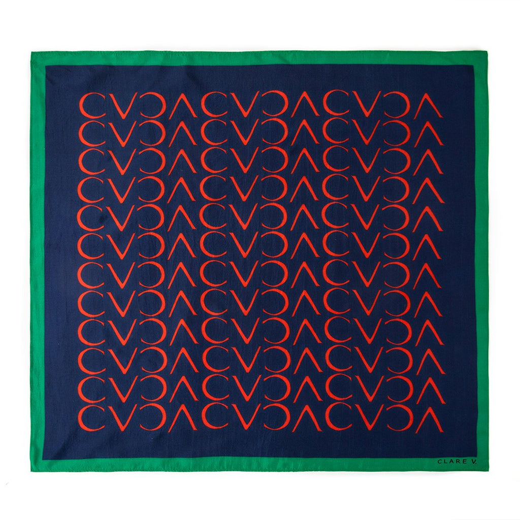 Clare V. Silk Scarf in Navy and Red