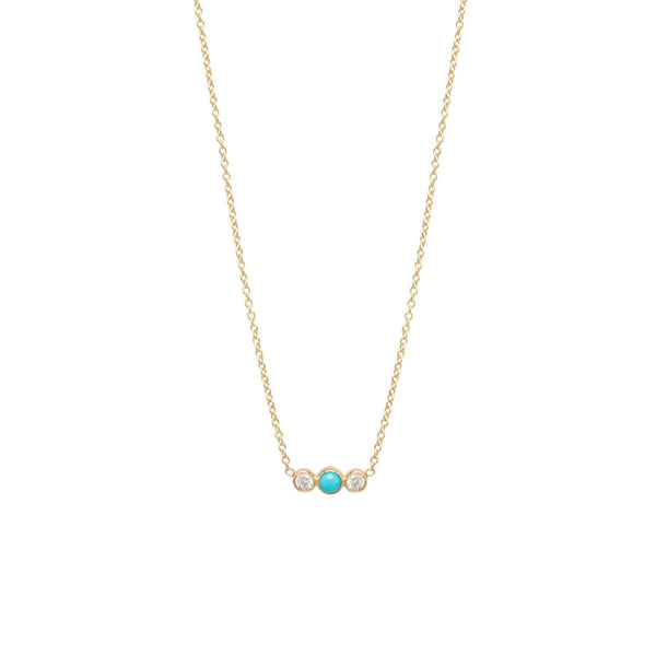 Zoe Chicco Diamond and Turquoise Bar Necklace in Yellow Gold
