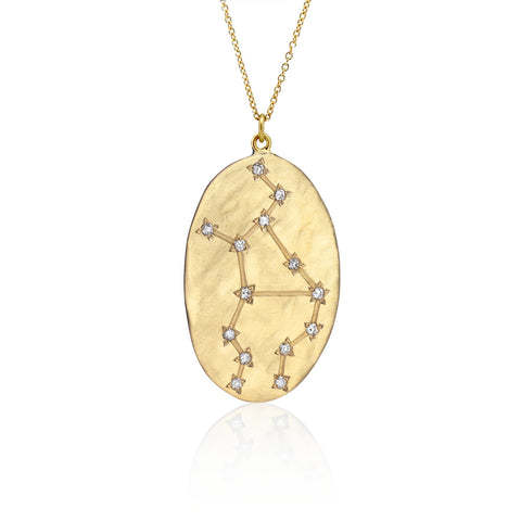 Brooke Gregson Virgo Astrology Necklace in Yellow Gold