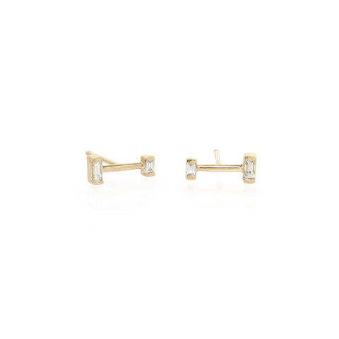 Zoe Chicco Barbell Diamond Suds in Yellow Gold