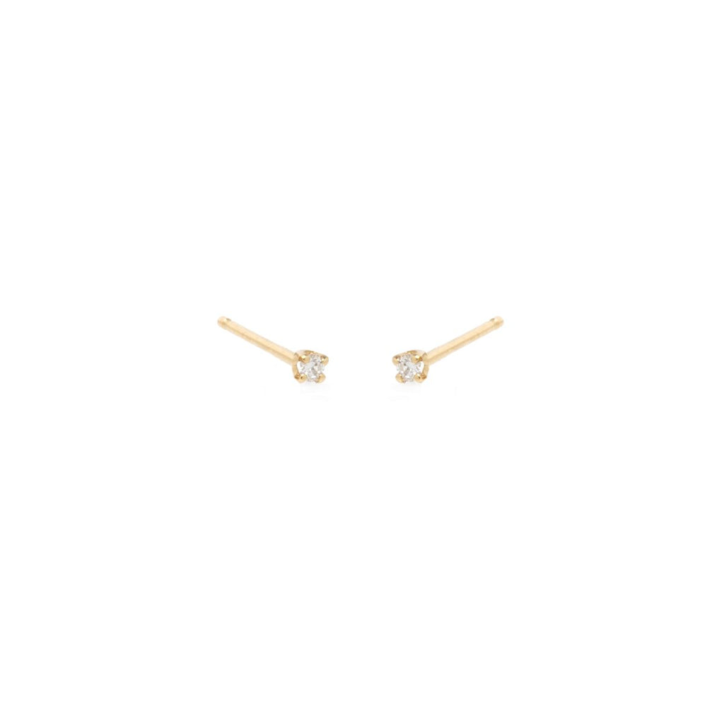 Zoe Chicco Tiny Prong Set Diamond Studs in Yellow Gold