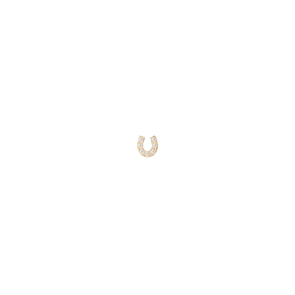 Zoe Chicco Diamond Horseshoe Stud in Yellow Gold