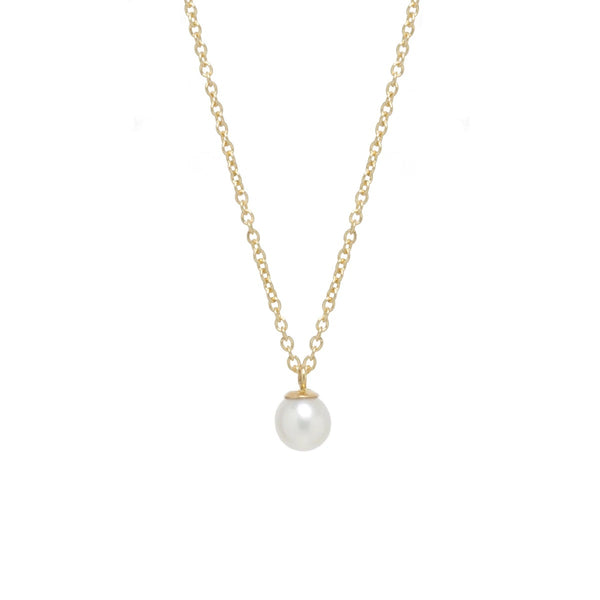 Zoe Chicco Pearl Drop Necklace in Yellow Gold