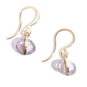 Melissa Joy Manning Single Drop Amethyst Earring in Yellow Gold