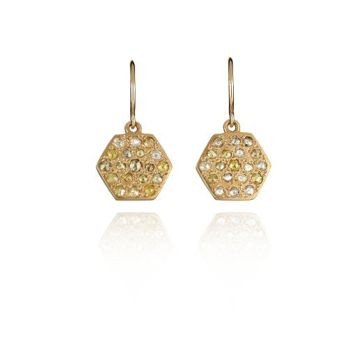 Brooke Gregson Mini Mars Diamond Rose Hex Earrings