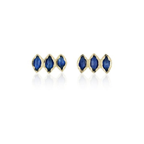 Brooke Gregson Triple Sapphire Marquise Stud Earrings