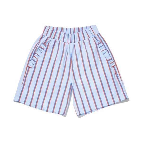 Kule Roxy Ruffle Short in Light Blue Stripe